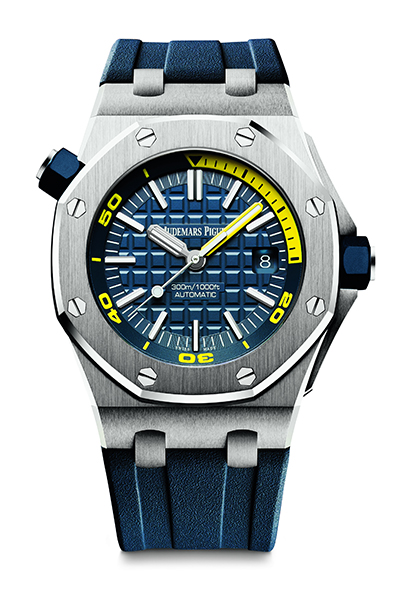 3d0866338e1 The yellow second hands and 15 minutes diving scales echo each other. The  blue rubber straps Audemars Piguet Royal Oak Offshore replica watches can  provide ...