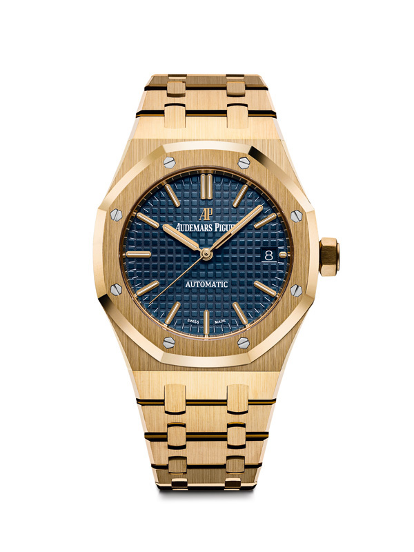 Audemars Piguet Royal-Oak fake watches with blue dials match very well with golden materials.