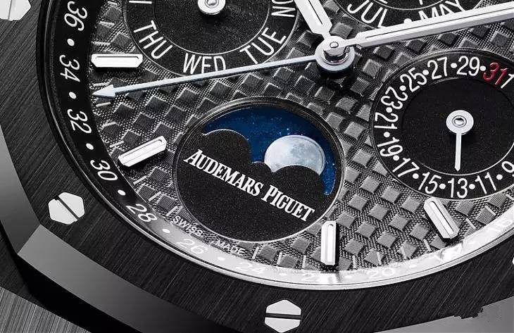 The ceramic copy Audemars Piguet Royal Oak Perpetual Calendar watches have black dials.