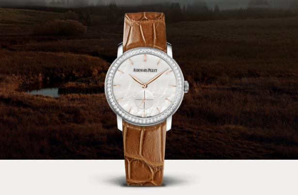 The 18k white gold fake watches have brown leather straps.