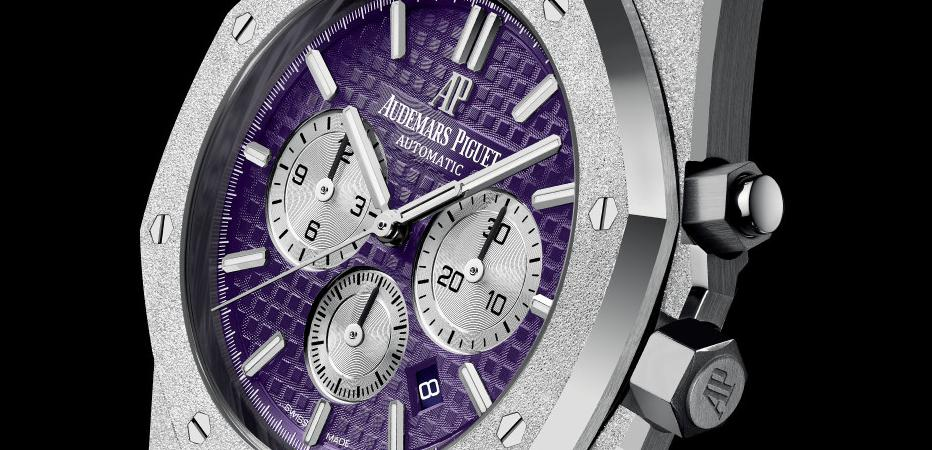 The 18k white gold fake watches have purple dials.