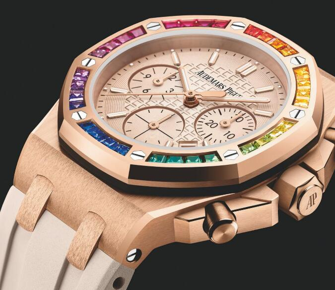 The colored gemstones paved on the bezel add the feminine touch to the timepiece.
