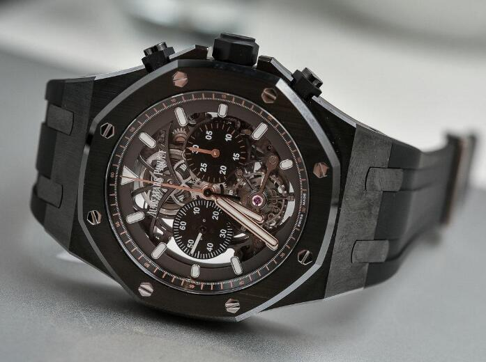 The skeleton dial presents the high technology of Audemars Piguet.