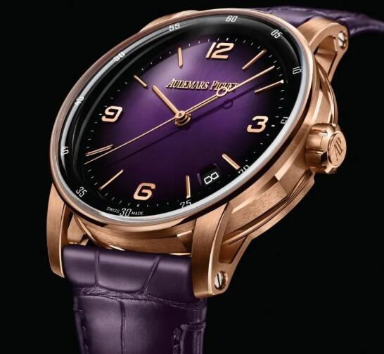 The rose gold case and purple dial make the copy Audemars Piguet more charming.